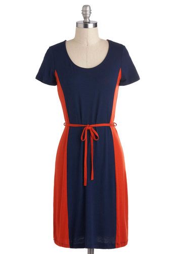 Orange Blueberry Bread Dress - Mid-length, Blue, Orange, Belted, Casual, Colorblocking, Shift, Short Sleeves