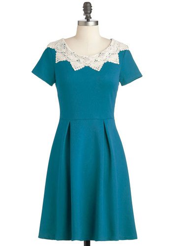 Curry Me Away Dress in Teal - Blue, Tan / Cream, Crochet, Vintage Inspired, A-line, Short Sleeves, Mid-length, Casual, Variation