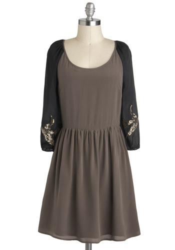 Birds and the Beads Dress - Tan, Black, Beads, A-line, Long Sleeve, Mid-length, Sequins, Party