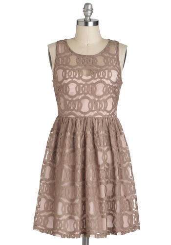 Dream of Delicacies Dress - Tan, Pink, Cutout, Sleeveless, A-line, Sheer, Mid-length, Casual, Daytime Party