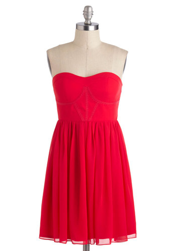Will Ruby Mine Forever? Dress - Red, Solid, Party, Strapless, Chiffon, Mid-length, A-line, Sweetheart, Prom