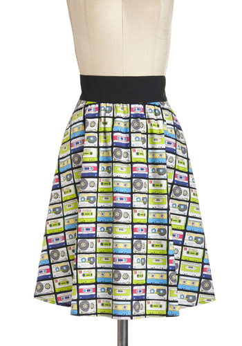 Music in Me Skirt in Mix Tape - Multi, Casual, A-line, Cotton, Mid-length, Novelty Print