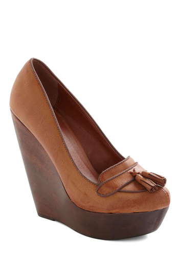 Lumber One Wedge - Tan, Solid, Tassles, Work, Menswear Inspired, Wedge, High