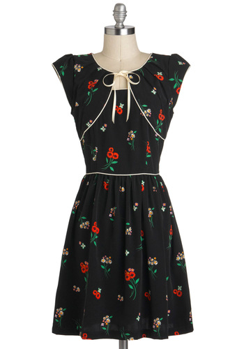 Lauren's Retro on the Go Dress by Trollied Dolly - Mid-length, Black, Red, Green, Floral, Tie Neck, Casual, Vintage Inspired, A-line, Cap Sleeves, International Designer, 40s