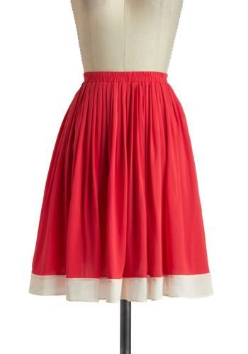 Poppy on By Skirt - Red, Tan / Cream, Solid, Casual, A-line, Mid-length