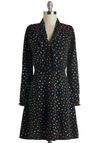 Ship Shapes Dress by Trollied Dolly - Mid-length, Black, Multi, Print, Buttons, Tie Neck, 90s, A-line, Long Sleeve, International Designer, Work