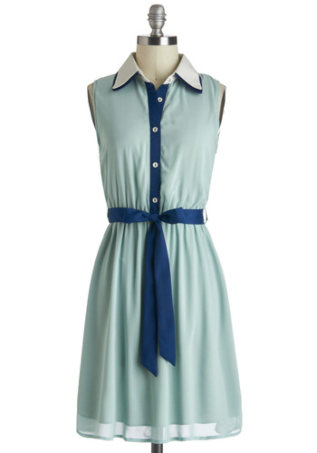 Strolling the Seashore Dress - Blue, Buttons, Belted, Casual, Shirt Dress, Sleeveless, Mid-length, Mint, Collared, Pastel, Variation