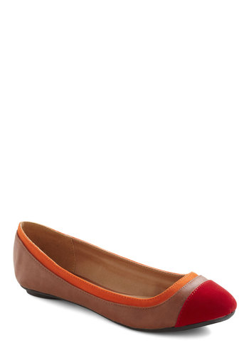 Thanks for the Tiptoe Flat in Red - Brown, Colorblocking, Flat, Faux Leather, Red, Orange, Variation