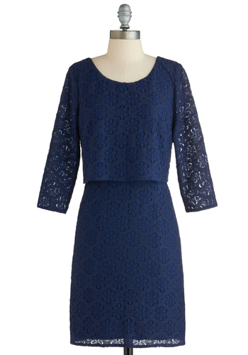 Girl of the Flower Dress - Mid-length, Blue, Solid, Work, Shift, 3/4 Sleeve, Lace, Exclusives