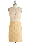 Cheers to Chic Dress - Short, Cream, Cutout, Lace, Wedding, Cocktail, Sheath / Shift, Sleeveless, Gold, Pleats, Exclusives, Bride