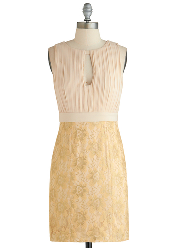 Cheers to Chic Dress - Short, Cream, Cutout, Lace, Wedding, Cocktail, Shift, Sleeveless, Gold, Pleats, Exclusives, Bride