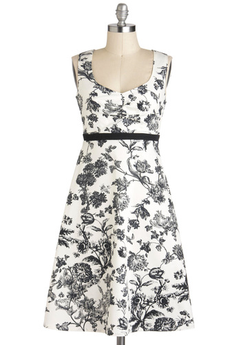 Still Life As We Know It Dress - Mid-length, Black, White, Floral, Daytime Party, A-line, Sleeveless, Tis the Season Sale, Graduation, Top Rated
