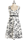 Still Life As We Know It Dress - Mid-length, Black, White, Floral, Daytime Party, A-line, Sleeveless, Tis the Season Sale, Graduation