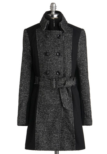 Jade's City of Style Coat - Black, White, Buttons, Pockets, Long Sleeve, Winter, Belted, Long, 3, Menswear Inspired