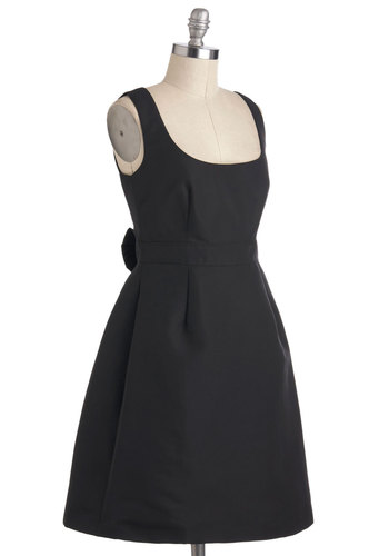 Your Cup of Formality Dress - Black, Solid, Party, Sleeveless, Mid-length, Bows, Cocktail, A-line, Luxe, Minimal, Scoop