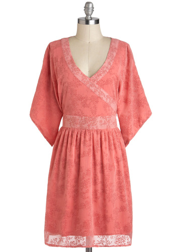 Beneath the Blossoms Dress by Tulle Clothing - Floral, Trim, Casual, A-line, 3/4 Sleeve, Pink, V Neck, Boho, Mid-length