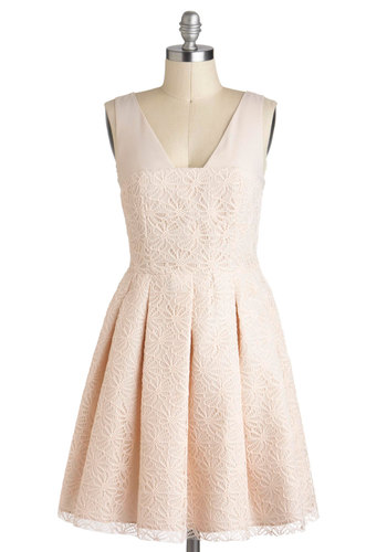 Affection for Confection Dress - Pleats, Wedding, A-line, Sleeveless, Mid-length, Pink, Solid, Daytime Party, Pastel, Lace, Graduation, Bride