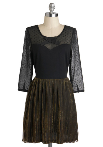 Good Glistener Dress - Short, Sheer, Black, Gold, Bows, Pleats, Party, Holiday Party, Twofer, 3/4 Sleeve, Tis the Season Sale