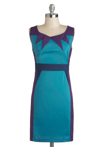 Perfect Shapes Dress - Blue, Purple, Shift, Sleeveless, Mid-length, Backless, Party, 80s, Colorblocking, Tis the Season Sale