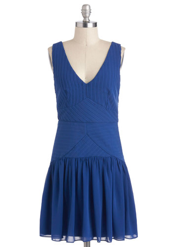 Waterfall for Fashion Dress - Blue, Solid, Cutout, Party, Sleeveless, Short, Drop Waist, V Neck, Vintage Inspired, 20s