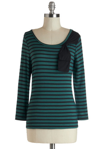 D'Orsay it Again Top - Jersey, Mid-length, Green, Black, Stripes, Bows, Casual, Long Sleeve, French / Victorian, Scoop