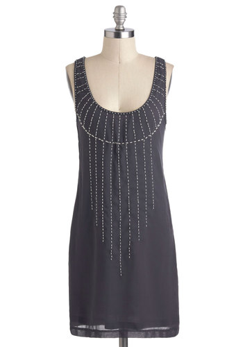 Falling Stars Dress - Grey, Beads, Party, Sheath / Shift, Mid-length, Sleeveless, Cocktail, 20s, Variation
