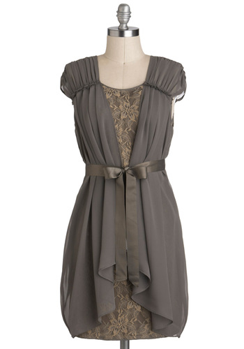 Sincere Fluttery Dress - Brown, Lace, Party, Sheer, Mid-length, Tan / Cream, Belted, Shift, Cap Sleeves