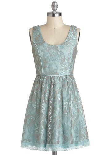 Floating Garden Dress - Lace, A-line, Sleeveless, Blue, Silver, Pastel, Short, Party, Graduation, Scoop