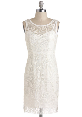 Swirl of the 21st Century Dress - Solid, Party, Sheath / Shift, Sleeveless, Sheer, Short, White, Graduation, Bride