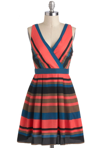 Party and Parcel Dress - Multi, Blue, Pink, Stripes, Casual, A-line, Summer, Short, Brown, Sleeveless, V Neck