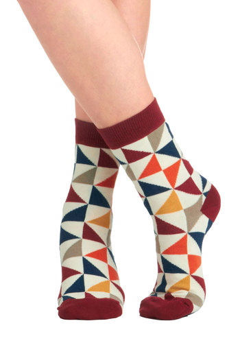 Geo Wiz! Socks by PACT - Print, Vintage Inspired, 60s, Mod, Eco-Friendly, Casual, Multi, Red