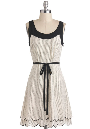 Acoustic Crooner Dress - Black, Casual, Sleeveless, Sheer, Mid-length, Scallops, Belted, A-line, Print, White, Graduation