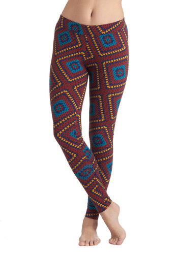 Crochet It by Ear Leggings by PACT - Jersey, Cotton, Multi, Print, Casual, Skinny, Eco-Friendly, Folk Art