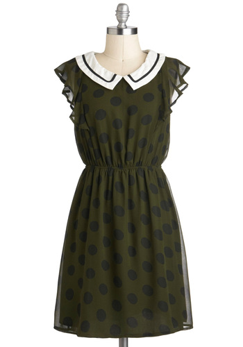 Within Dotting Distance Dress - Mid-length, Green, Black, Polka Dots, Casual, Vintage Inspired, A-line, Cap Sleeves, Collared, White, Peter Pan Collar, Ruffles