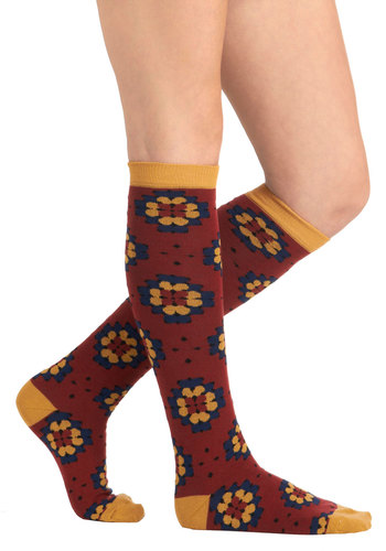 All Seasons Abloom Socks by PACT - Red, Multi, Print, Eco-Friendly, Casual, 70s