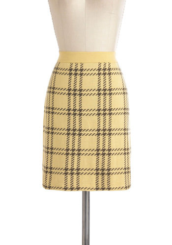 Twice The Fun Skirt by Nick & Mo - Yellow, Brown, Short, Plaid, Work, Scholastic/Collegiate, Pencil