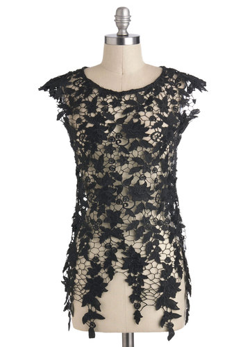 Fashionable Finesse Top in Black - Sheer, Short, Black, Lace, Party, Cocktail, Cap Sleeves, Floral, Variation, Black, Sleeveless