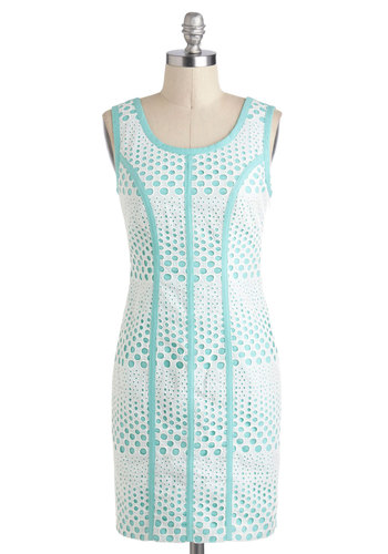 Better Than Effervescent Dress - White, Eyelet, Trim, Sheath / Shift, Blue, Pastel, Sleeveless, Party, Short