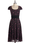 It's Venn Fun Dress by Bettie Page - Long, Black, Pink, Bows, Cap Sleeves, Party, Polka Dots, A-line, Pinup
