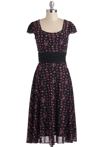 It's Venn Fun Dress - Long, Black, Pink, Bows, Cap Sleeves, Party, Polka Dots, A-line, Pinup