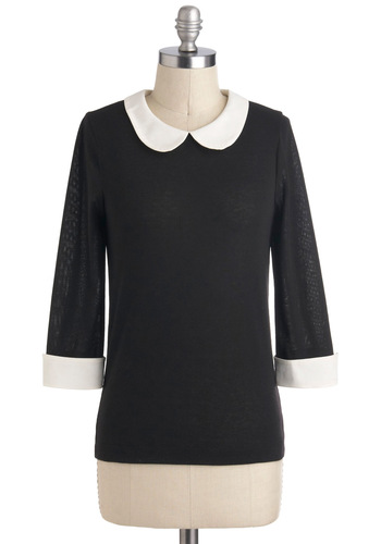 Scoot Around Town Top - Mid-length, Black, White, Solid, Peter Pan Collar, Work, Vintage Inspired, 3/4 Sleeve, Collared, Exposed zipper