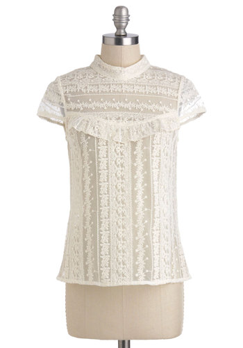 Dainty Darling Top - Mid-length, White, Lace, Work, Daytime Party, French / Victorian, Cap Sleeves, White, Short Sleeve