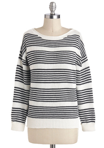 Catamaran Cruise Sweater - Mid-length, White, Blue, Stripes, Knitted, Casual, Long Sleeve, Nautical