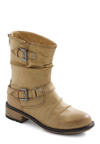 All A-Boot Style Boot in Beige - Cream, Solid, Buckles, Military, Low, Faux Leather, Fall, Rustic