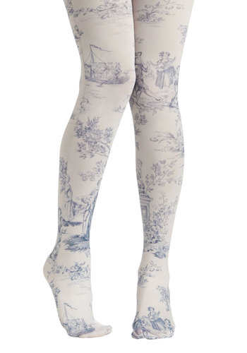 A Tale Of New Tights by Look From London - Sheer, White, Blue, Print, French / Victorian, Top Rated