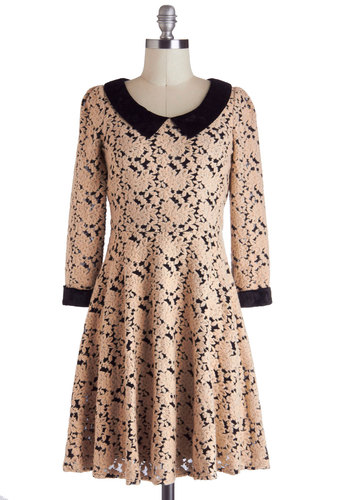 Thrilling Me Softly Dress - Sheer, Mid-length, Cream, Black, Peter Pan Collar, Party, French / Victorian, A-line, Long Sleeve, Collared, Winter, Floral