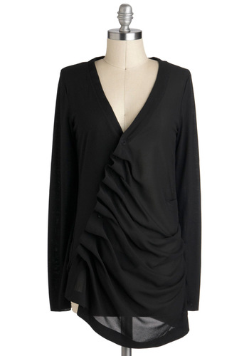 A Stylish Gathering Top - Black, Solid, Casual, Long Sleeve, Mid-length, Ruffles