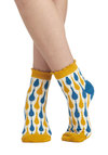 Shop 'Til You Droplet Socks - White, Multi, Print, Ruffles, Cotton