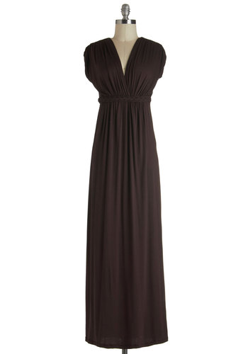 Cozied Up With Cocoa Dress - Long, Brown, Solid, Casual, Maxi, Fall, V Neck