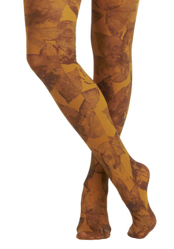 Forever Foliage Tights by Look From London - Gold, Tan / Cream, Print